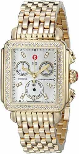 MICHELE Women's MWW06P000100 Deco Analog Display Swiss Quartz Gold Watch