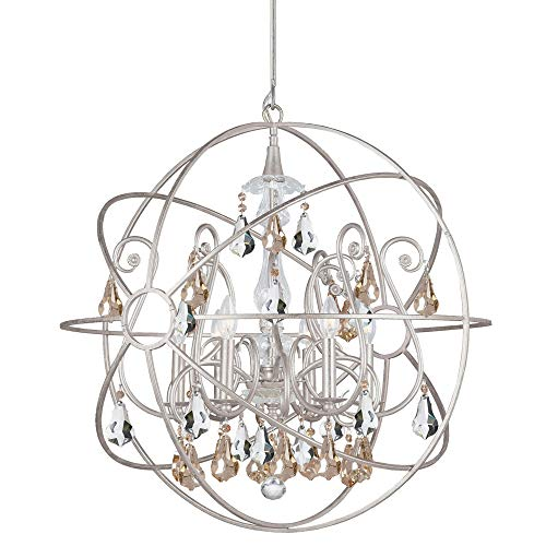 Crystorama 9028-OS-GS-MWP Solaris - Six Light Chandelier, Olde Silver Finish with Golden Majestic Wood Polished Crystal ()