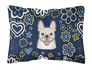 Caroline tesoros del bb5089pw1216azul flores francés Bulldog lienzo Tejido decorativo almohada, 12h x16W, multicolor