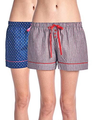 Casual Nights Women's 2 Pack Cotton Woven Lounge Boxer Shorts - Stars/Plaid 21 - Large