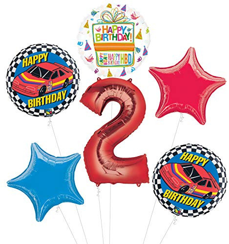 (Race Car 2nd Birthday Party Supplies Stock Car Balloon Bouquet Decorations)