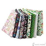 """RayLineDo 10 Pcs Different Pattern Multi Color 100% Cotton Poplin Fabric Fat Quarter Bundle 18"""" x 22"""" Patchwork Quilting Fabric Paisley and Green Series"""