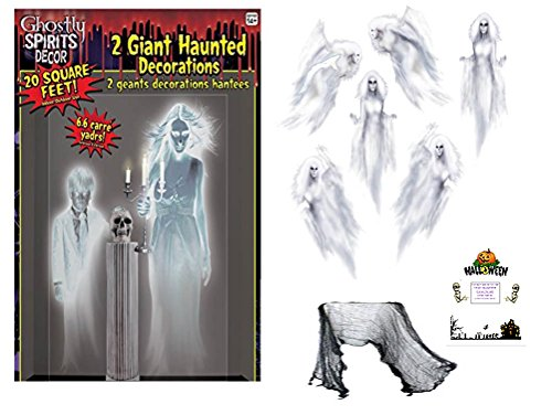 Halloween Decorations Spirit (Ghost Decorations Kit Halloween Set Ghostly Spirits Ethereal Ghost Wall Props Creepy Cloth Idea Guide Bundle (9 pieces))
