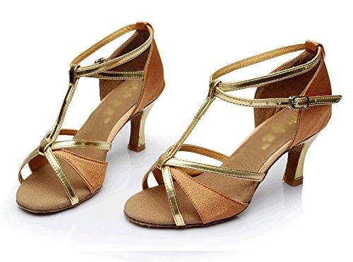 Fond WYMNAME de L'Usure à Sandale Latine Chaussures Talons Mou Chaussures Danse Danse de de Brun Salon Womens Résistant Moyens fP0nB