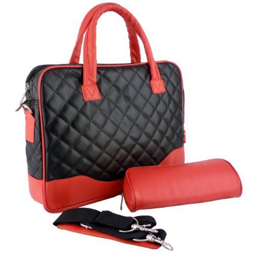 14.1 inch Black Diamond Quilted Pattern with Red Accent Trim Bubble Foam Padded Laptop Computer Notebook Sleeve Office Tote Briefcase Carry Case Messenger Shoulder Bag (Black Laptop Quilted Bag)
