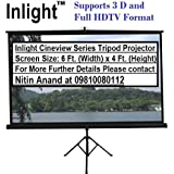 Inlight Cineview Series Tripod Type Projector Screen 6 Ft. (Width) X 4 Ft. (Height) And Full Hdtv Format