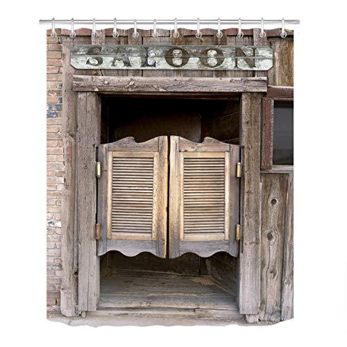 LB Rustic West Saloon Stall Shower Curtain Set, Vintage Retro Cowboy Western Country Farm Bathroom Decor, 70x70 Shower Curtain Set Waterproof Mildew Free for $<!--$19.39-->