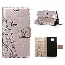 MOONCASE Galaxy Alpha Wallet Case Flower Pattern Premium PU Leather Case for Samsung Galaxy Alpha G850 Bookstyle Soft TPU [Shock Absorbent] Flip Bracket Cover Grey