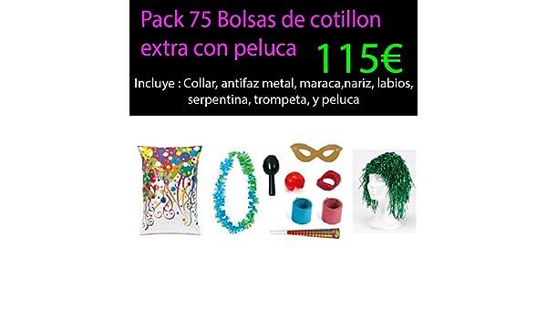 Pack 75 bolsas cotillon extra con peluca: Amazon.es ...