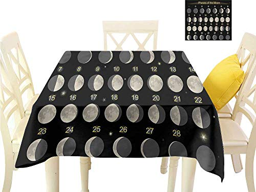 WilliamsDecor Non Slip Tablecloth Moon Phases,Moon Calendar Monthly Square Tablecloth W 60
