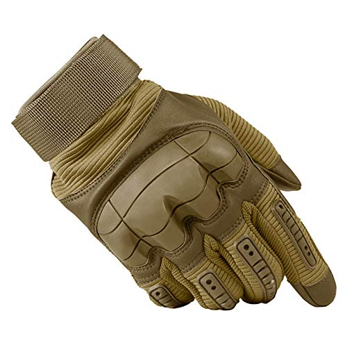 (XJKNBUJF Outdoor Sport Hiking Military Tactical Combat Men Airsoft Protection Shell Full Finger Gloves Khaki L)