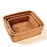 Handmade Rectangle Wicker Fruit Box Rattan Tray Magazine Organizer and Small Objects Container Serving Basket (3-Size/Kit)