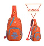 Peicees Waterproof Lightweight Sling Durable Casual Travel One Shoulder Backpack Chest Bag for Men and Women,Teen Boys and Girls School (Tangerine)