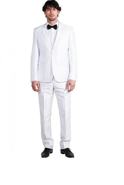 Traje blanco 2 piezas Hombre para bodas cuello sastre pieza ...
