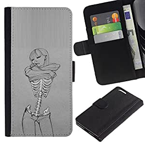 Planetar® Modelo colorido cuero carpeta tirón caso cubierta piel Holster Funda protección Para Apple (5.5 inches!!!) iPhone 6+ Plus ( Love Sexy Art Woman Skeleton Grey )