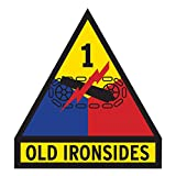 US Army - 1st Armored Division Old Ironsides Patch Decal - 3.5 Inch Tall Full Color Decal, Sticker