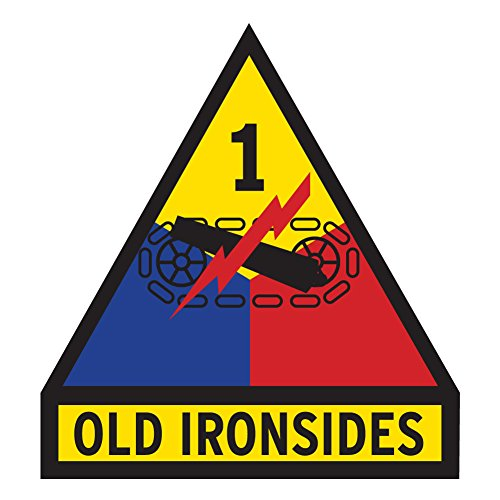 US Army - 1st Armored Division Old Ironsides Patch Decal - 3.5 Inch Tall Full Color Decal, (Armored Division Decal)