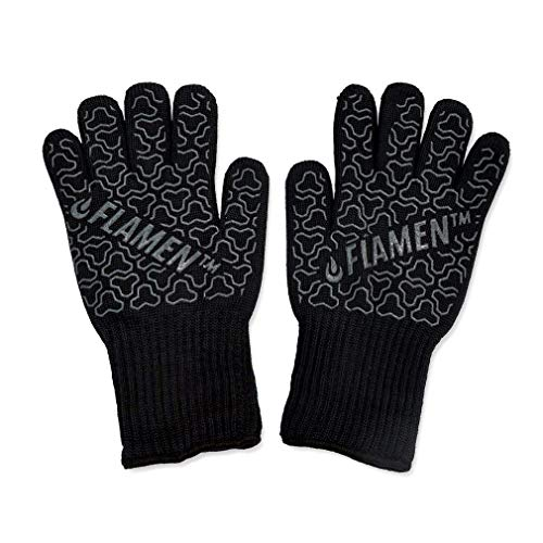 PREMIUM Flamen heat resistant gloves (475°F, 250°C), ARAMID FIBER oven mitts with MAXIMUM heat resistance for daily kitchen, camping, cooking, grill and BBQ use, PERFECT GRIP and UNIVERSAL SIZE