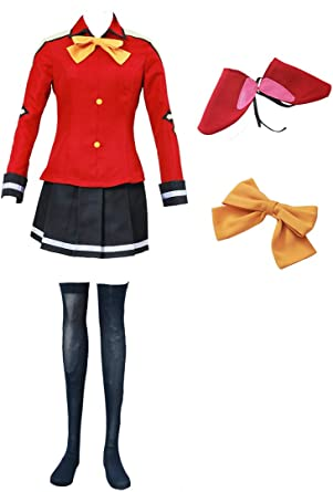 Fairy Tail Wendy Marvell Cosplay Costume uniform red with headband