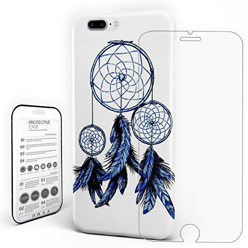 - Case for iPhone 7 Plus/8 Plus, Hard Plastic Case Transparent Glass Screen Protector Indian Style Feather Pendant Print Patterns Ultra Thin Slim Fit Protective Cover By Ovilia Halo