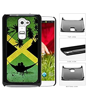 Jamaican Flag With Hammock And Palm Trees Silhouette Hard Plastic Snap On Cell Phone Case LG G2