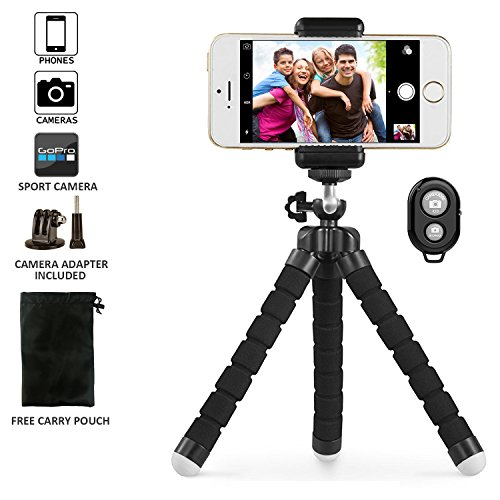 Phone tripod, UBeesize Portable and Adjustable Camera Stand Holder with Bluetooth Remote and Universal Clip for iPhone