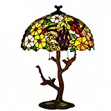 Table Lamps - Magcolor Tiffany Style Stained Glass Grapes and Flowers Table Lamp with 17 inches Handmade Lampshade and Double Birds Lamp Base Made of Zinc Alloy - Suitable for Decorating Room