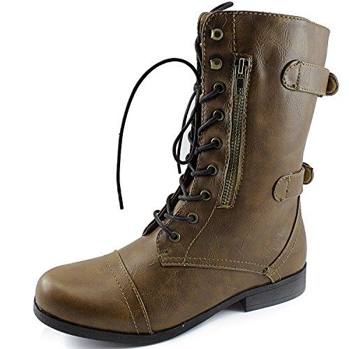 Dailyshoes Dames Evan-10 Enkel Rits Militaire Gevechtslaarzen, 10 B (m) Ons