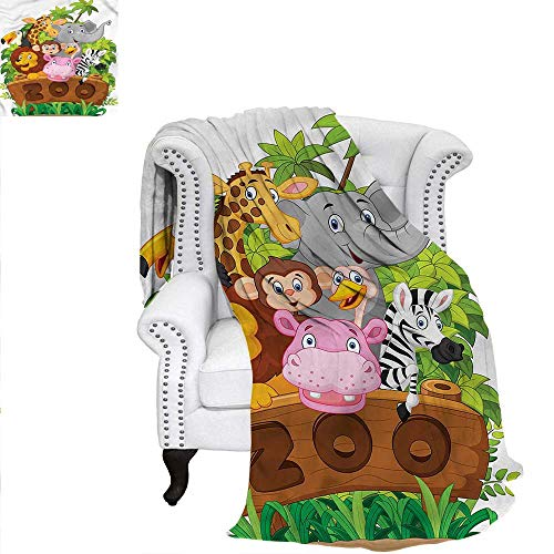 (RenteriaDecor Zoo Digital Printing Blanket Happy Animals Fresh Trees Blanket 80