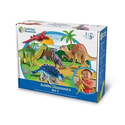 Learning Resources Jumbo Dinosaurs Expanded Set I Apatosaurus, Spinosaurus, Pteranodon, Ankylosaurus, Parasaurolophus, Set of 5, Ages 3+: Toys & Games