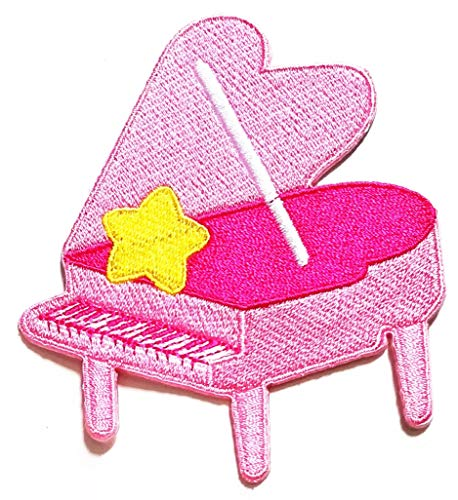 Nipitshop Patches Pink Grand Piano with Yellow Star Logo Movie Cartoon Kid Patch Symbol Jacket T-Shirt Patch Sew Iron on Embroidered Sign Badge Costume