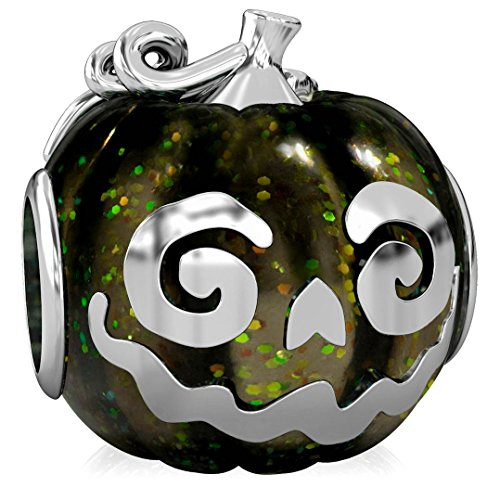 BELLA FASCINI Black Magic Jack-O-Lantern Halloween Pumpkin Bead Charm Fits European Charm Bracelets