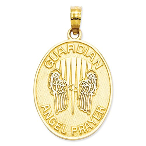 ICE CARATS 14kt Yellow Gold Reversible Prayer Guardian Angel Pendant Charm Necklace Religious Fine Jewelry Ideal Gifts For Women Gift Set From Heart (14kt Gold Reversible Pendant)