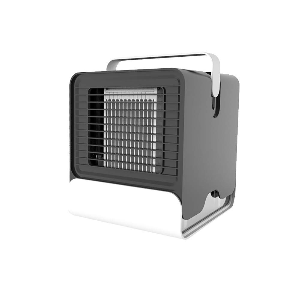 Dacawin-Household Portable Mini Air Conditioner Fan - USB Personal Air Cooler Desktop Fan - Air Circulator Purifier Cooler with Handle and Night Light for Home Office Outdoors (Black, Cooler) by Dacawin-Household
