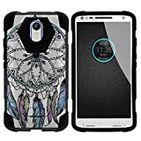 TurtleArmor | Compatible for Motorola Droid Turbo 2 Case | Moto X Force Case [Dynamic Shell] Hybrid Dual Layer Hard Shell Kickstand Silicone Case - Dreamcatcher Feathers