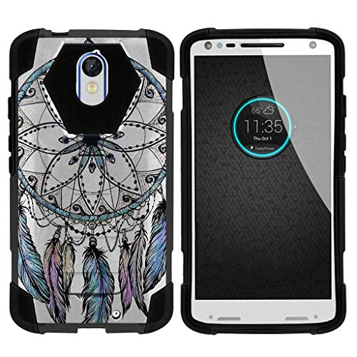 TurtleArmor | Compatible for Motorola Droid Turbo 2 Case | Moto X Force Case [Dynamic Shell] Hybrid Dual Layer Hard Shell Kickstand Silicone Case - Dreamcatcher Feathers by TurtleArmor