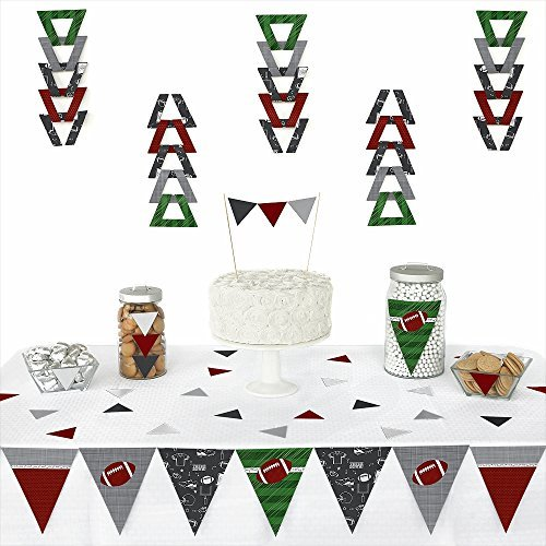Big Dot of Happiness End Zone - Football - Triangle Baby Shower or Birthday Party Decoration Kit - 72 Pieces -