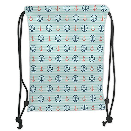 Custom Printed Drawstring Sack Backpacks Bags,Anchor,Summer Holiday Adventure Horizontal Striped Backdrop with Icons Bon Voyage Decorative,Seafoam Blue CoralSoft Satin,5 Liter Capacity,Adjustable - Anchor Bon Voyage