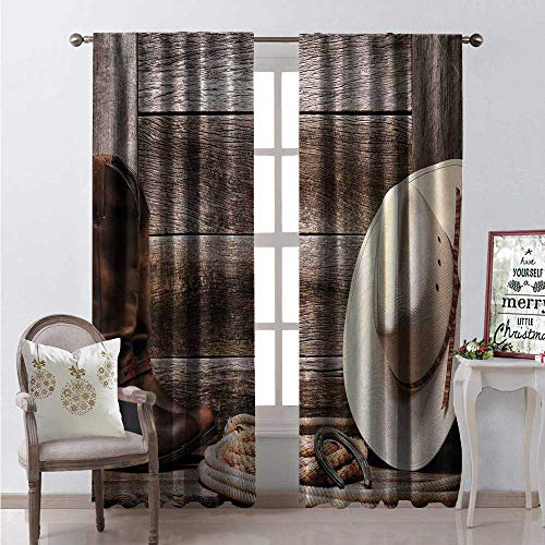 Hengshu Western Room Darkening Wide Curtains American West Rodeo White Straw Cowboy Hat Lariat Leather Boots on Rustic Barn Wood Waterproof Window Curtain W96 x ()