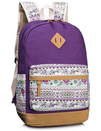 Leaper Floral Laptop Backpacks College Bags School Daypack Travel Bags Purple1