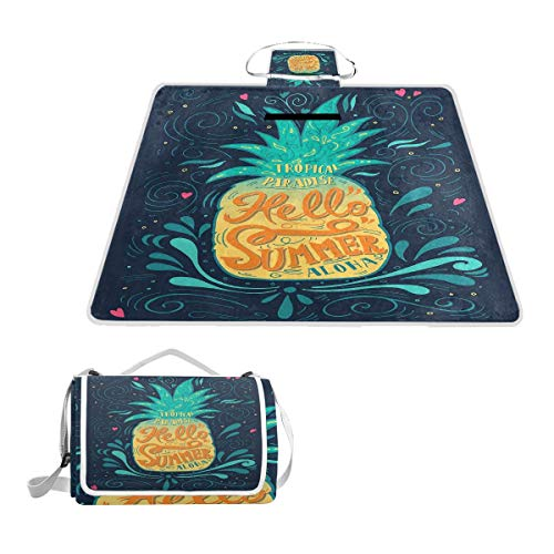 YCHY Hello Summer Quote Pineapple with Hearts Swirls and Teardrop Shapes Background Picnic Mat Sandproof and Waterproof Outdoor Picnic Blanket for Camping Hiking Beach Grass Travel