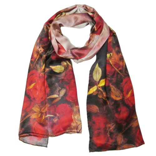 Wrapables Luxurious 100% Charmeuse Silk Floral Painting Long Scarf with Hand Rolled Edges, Red ()