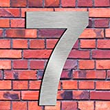 Brushed House Number 7 Seven-15.3cm 6in-Made of Solid 304 Stainless Steel, Floating Appearance, Easy to Install