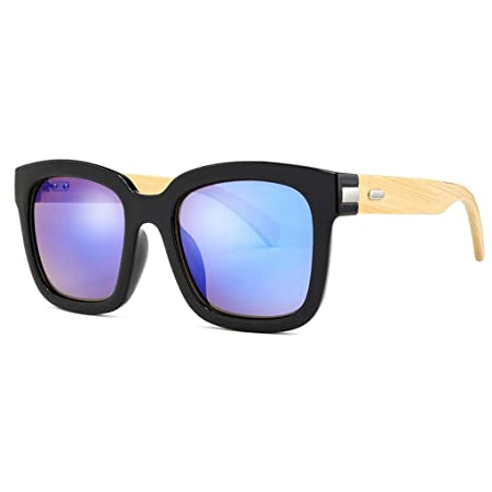 627df535d04 SUNGLASSES Women s Fashion Square Frame Bamboo Wood