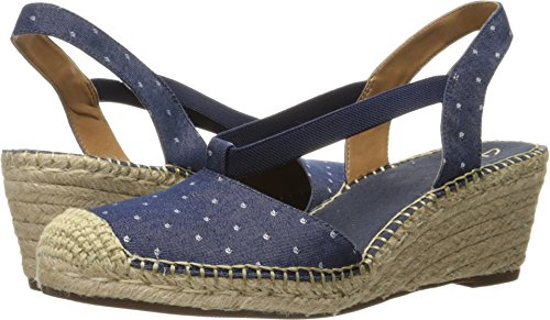 Wedge Heel Slingback Sandals - Clarks Women's Petrina Kaelie Espadrille Wedge Sandal, Navy Fabric, 7.5 M US
