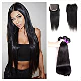 JiSheng Hair 8A Brazilian Straight Virgin Hair With Closure 3 Bundles with 100% Unprocessed Brazilian with Closure Human Hair Weave Bundles Natural Color (12 12 12 with 10) For Sale