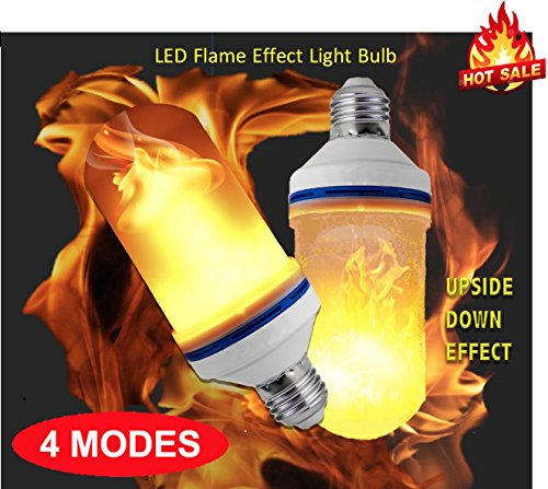 4 Modes  LED Flame Effect Light Bulb, E26 LED Flickering Flame Bulbs, 105pcs 2835 LED Simulated Decorative Atmosphere Lighting Vintage Flaming Light Bulb. Led Flaming Bulb (Led Like)