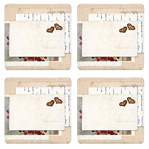 MSD Square Coasters Non-Slip Natural Rubber Desk Coasters design 22983136 old letters empty post cards and two hearts vintage ()