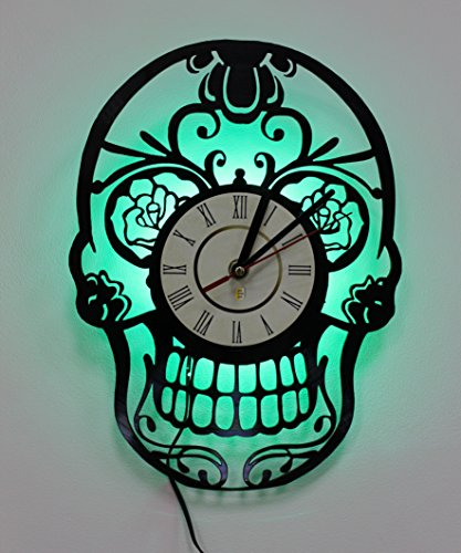 Wall Lights, LED Night Light, Wall Lamp, Sugar Skull Wall Clock, Cool Bedroom Wall Art Decor ()