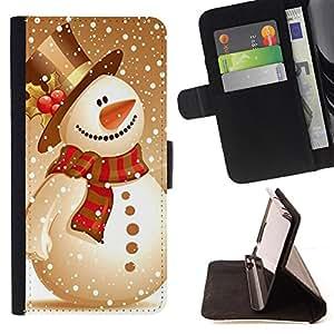 - Merry Christmas Tree Green Red Deer Snow Winer - - ?? Pintura Sonrisa Arte Cara del dise?¡Ào del estilo de la PU del tir??n del soporte del cuero de la FOR Samsung Galaxy S6 Minions Case